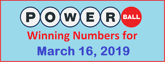 PowerBall Winning Numbers for Saturday, 16 March 2019