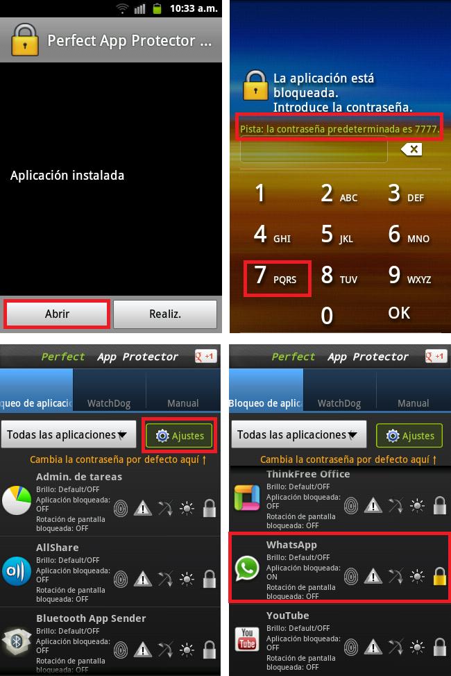 descargar aplicación para poner contraseña a un teléfono