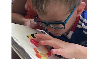 Akiniuotas berniukas čiupinėja ir iš arti prisikišęs tyrinėja liečiamąją iliustraciją