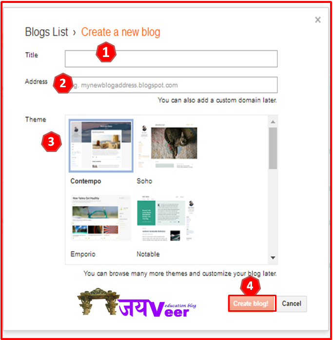 Blog Title, Address And Template