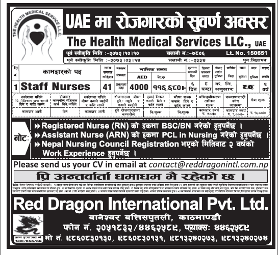 Nursing Jobs in Dubai for Nepali, Salary Rs 1,16,680