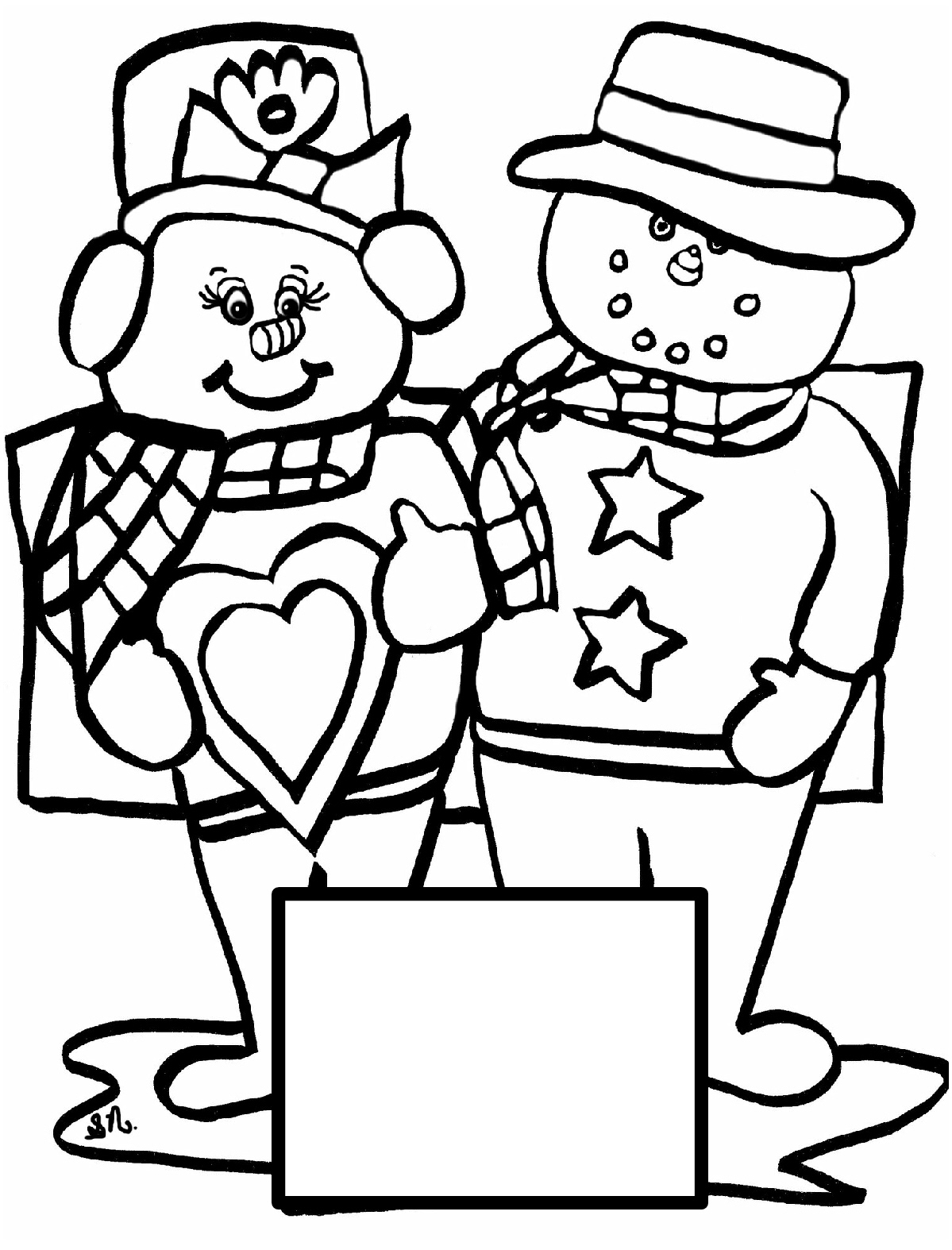 Christian Images In My Treasure Box: Home Drawn Snowmen