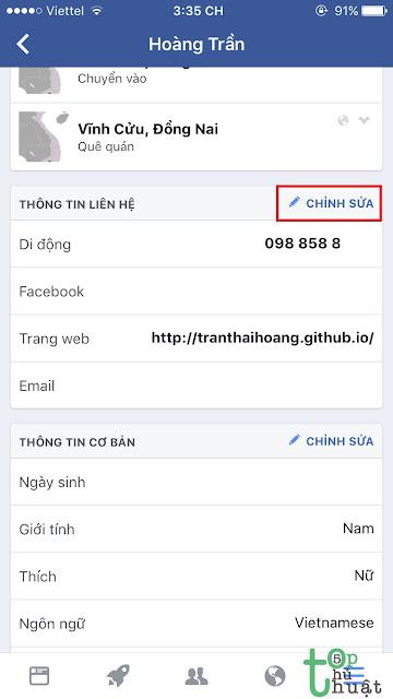 Chỉnh sửa số điện thoại Facebook