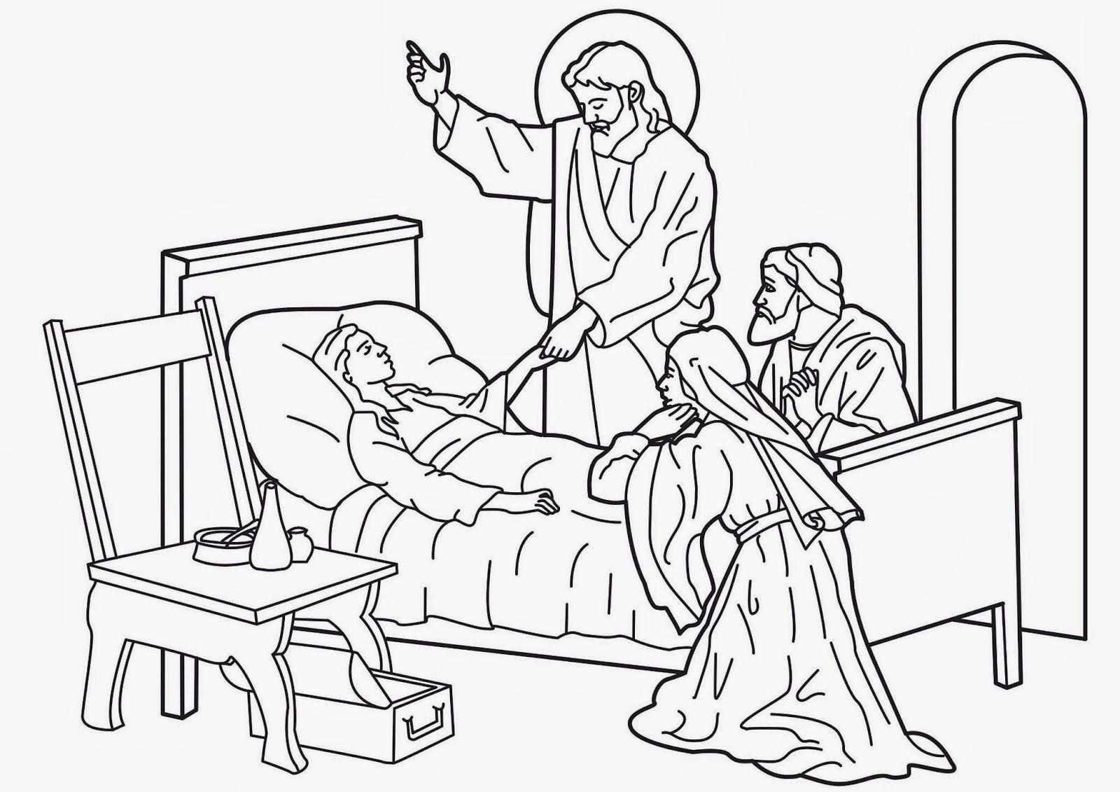 Imagenes Cristianas Para Colorear: Jesus Curaba Enfermos
