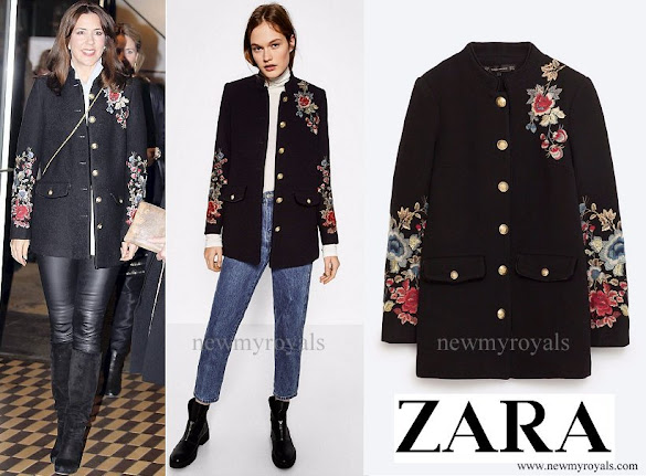 Crown Princess Mary wore Zara Floral Embroidered Military Style Coat