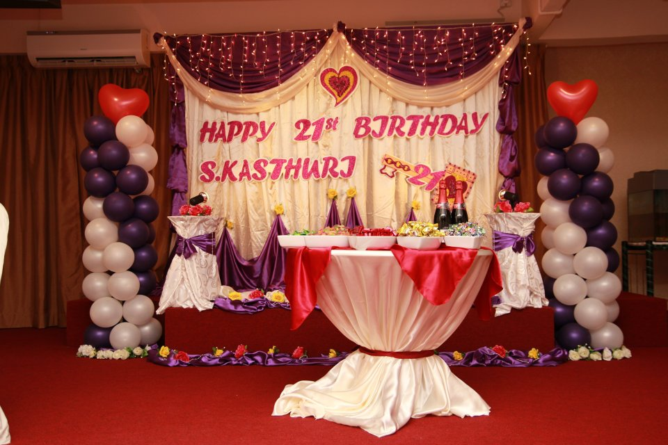 21st Birthday Decorations For Her Theme Colour Purple White
