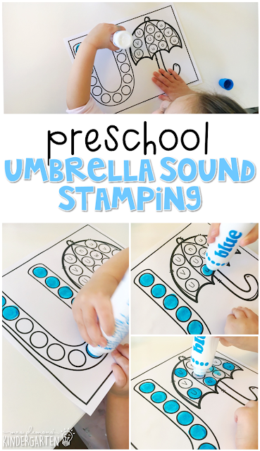 This umbrella sound stamping activity is perfect for letter, sound, and fine motor practice with a weather theme. Great for tot school, preschool, or even kindergarten!