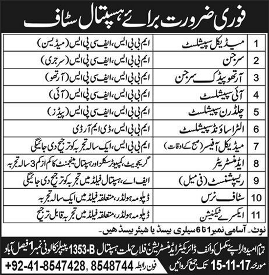 Jobs Falah e Millat Hospital Faisalabad November 2017