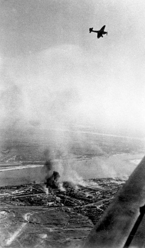 German Ju 87 'Stuka' dive bomber over Stalingrad