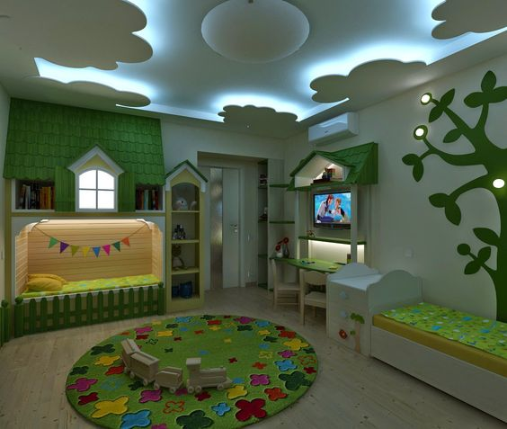 Top 25 false ceiling design options for kids rooms 2018 for Children s bedroom ideas