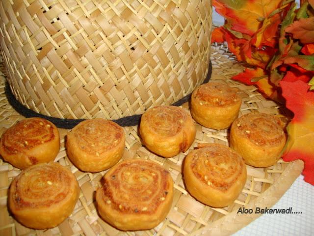 images of Aloo Bhakarwadi / Aloo Bakarwadi /  Bhakarwadi / Samosa Pinwheels