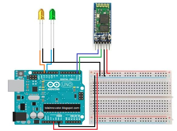 Rangkaian kontrol led dengan bluetooth HC-05