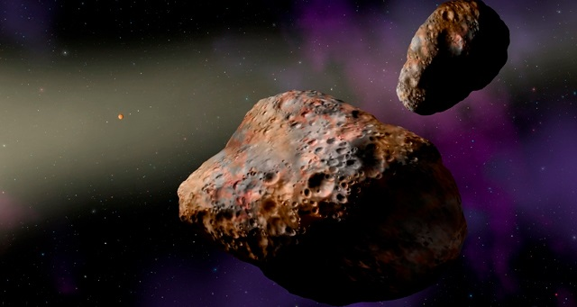SwRI scientist studied the binary asteroid Patroclus-Menoetius, shown in this artist's conception, to determine that a shake-up of the giant planets likely happened early in the solar system's history, within the first 100 million years. Image Courtesy of W.M. Keck Observatory/Lynette Cook
