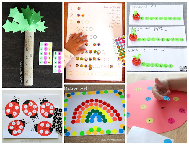 fine motor activities using stickers