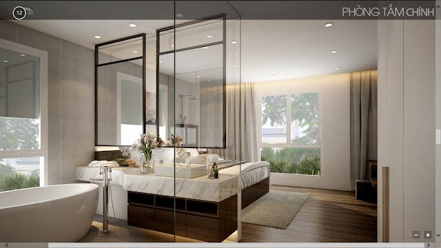 Phòng ngủ chính villa The Venica Khang Điền quận 9 cho thuê
