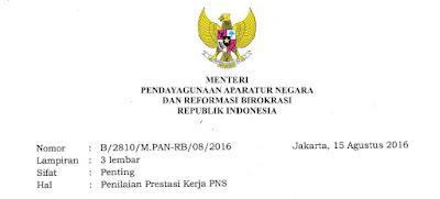 Penilaian Prestasi Kerja PNS Tahun 2016 Sesuai Surat Menpan RB Nomor B/2810/M.PAN-RB/08/2016