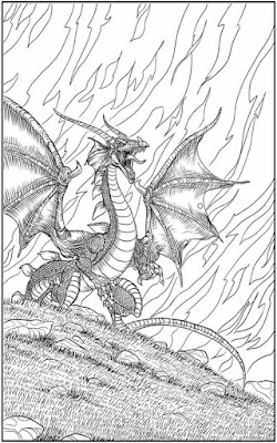 winged dragon printable adult coloring pages