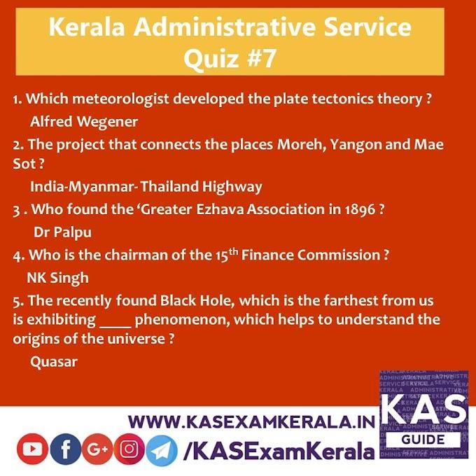Daily Quiz for Kerala Administrative Service #7 Alfred Wegener | Quasar and more