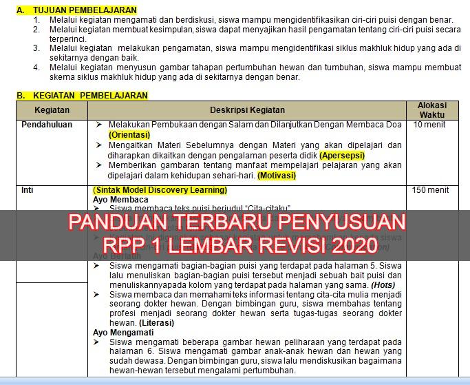 gambar panduan penyusunan RPP satu lembar revisi 2020