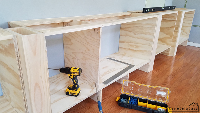 How to build the base cabinets for a wall of built-ins