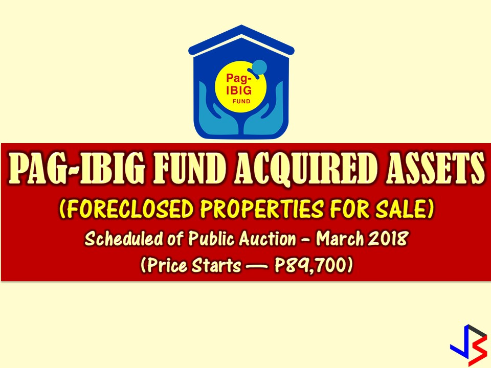 Are you looking for bankruptcy house or foreclosed house to buy for your family or for investment? The Pag-IBIG Fund has many acquired properties for sale in their foreclosure auction this month of March.  In real estate foreclosure listings below from Pag-Ibig Fund, you can find foreclosed homes or house and lot, vacant lot and any other properties. If you are lucky enough, you may acquire one of this properties at a cheap price compared to those in the market! Happy Hunting!
