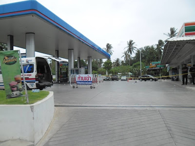 PTT gas station in Chaweng as a crime scene