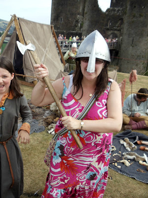 Mrs Ty Siriol going into battle at Caerphilly Castle
