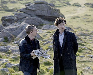 Benedict Cumberbatch and Martin Freeman as Sherlock Holmes and Watson in The Hounds of Baskerville