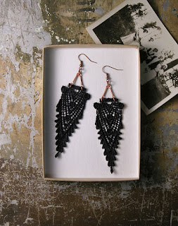 modern lace earrings cotton anniversary gift