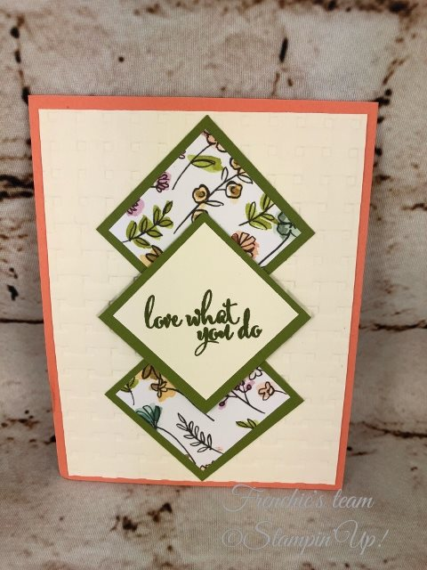 Card, Love What You Do, Basket Weave Embossing Folder,Floral Card