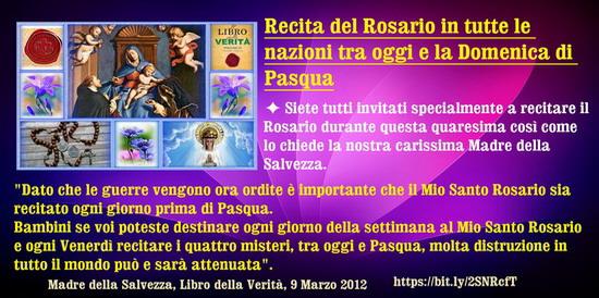 ◊⋱♥⋰ Recita del Rosario in tutte le nazioni tra oggi e la Domenica di Pasqua