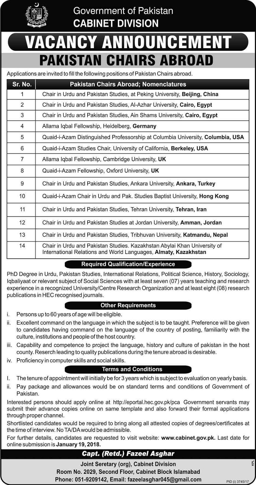 Jobs In Pakistan Chairs Abroad Cabinet Division Islamabad Jan 2018