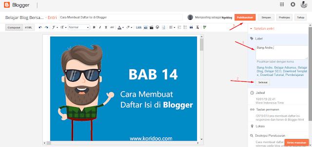 Cara Memberi Label Pada Postingan di Blog Blogger - Cara Membuat Label di Blogger 2