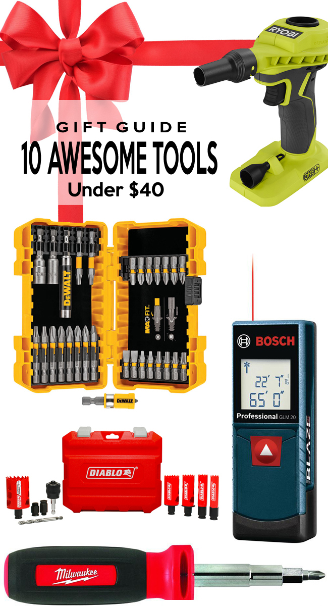 Ryobi, Milwaukee, DeWalt, Husky, Dremel, Bosch tools under $40 for your holiday gifts