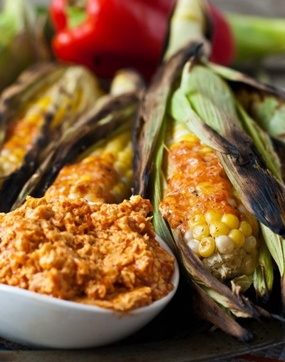 Grilled Corn On The Cob With Roasted Red Pepper Butter