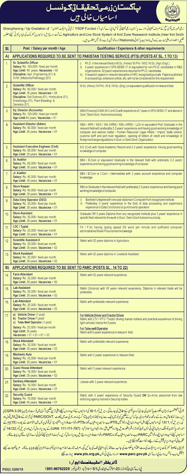 Pakistan Agriculture Research Council New Jobs 2019 | Multiple Vacancies
