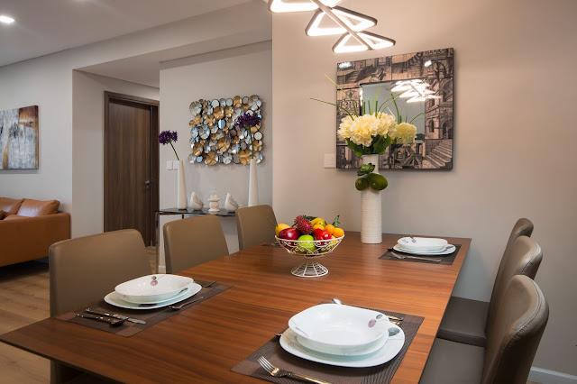 phòng bếp căn hộ mẫu rivera park