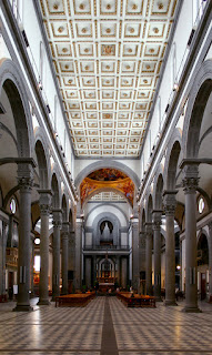 The interior of the Basilica of San Lorenzo in Florence