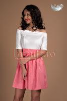 Rochie clos ivoire roz corai (Tiffani)