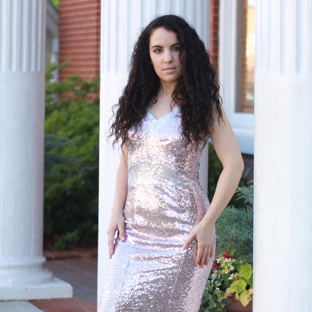Blush Pink Sequin Fishtail Dress