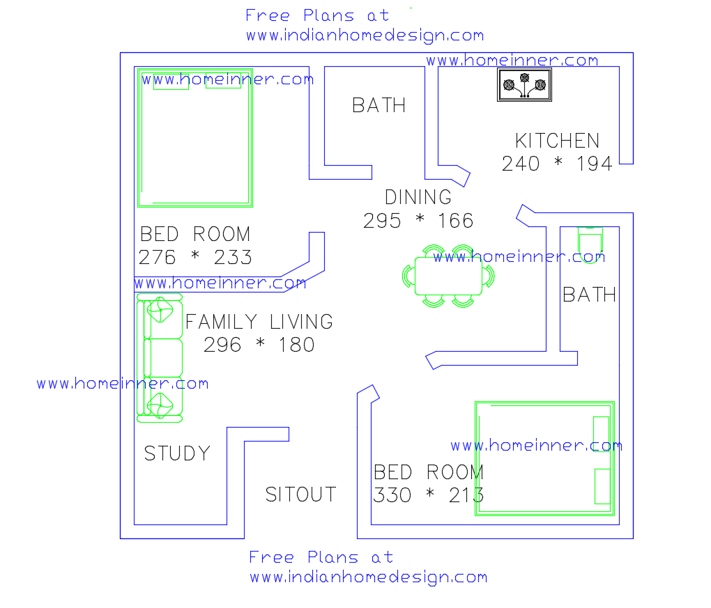 Free low cost 2 Bedroom 470 sq ft house plan 2 cent land - Indian ...