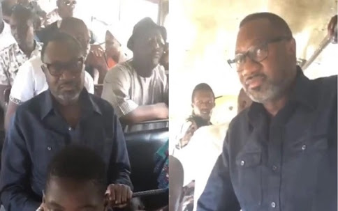 Billionaire Otedola takes a ride in Lagos 'Molue' bus (Photos)