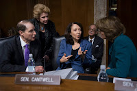 Democratic Sens. Maria Cantwell (center), Ron Wyden and Debbie Stabenow, wrote to the deputy inspector general of the Interior Department asking her to look into the reassignment of scientists. Republican Sen. Lisa Murkowski (right) of Alaska also said she would talk with Interior Secretary Ryan Zinke. (Credit: Jim Watson/Getty Images) Click to Enlarge.