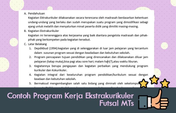 Contoh Program Kerja Ekstrakurikuler Futsal MTs