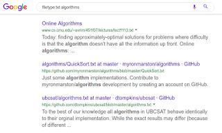 البحث عن ملفات نص عادية عن الخوارزميات على محرك البحث جوجل