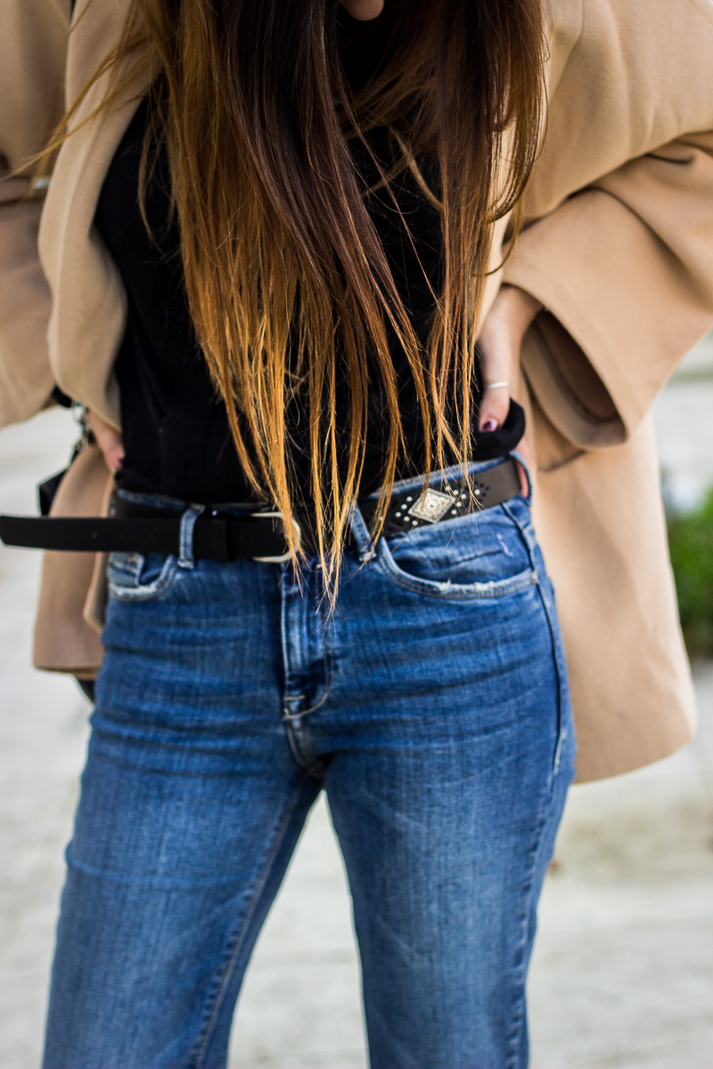 zara flared jeans and primark belt