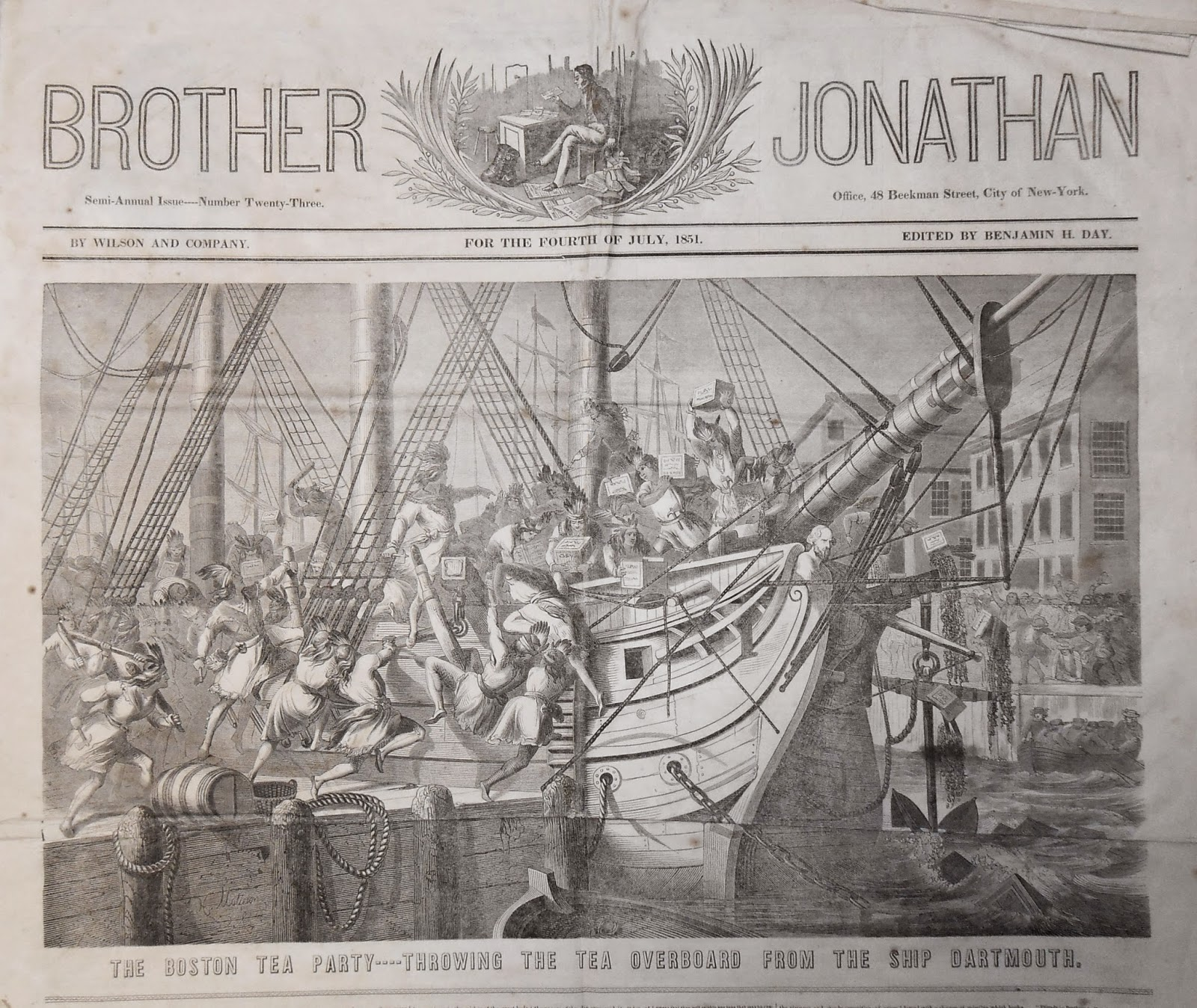An 1851 newspaper showing a large illustration of the Boston tea Party.