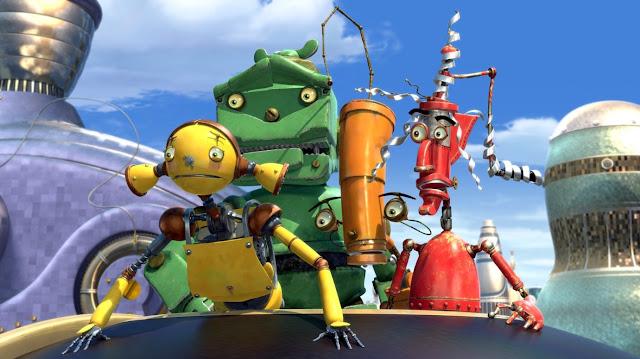 Render en 3D de la película Robots de los personajes de robots Los Oxidados