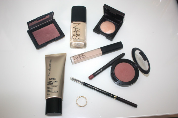 most reached for pruducts, favourites, most used, bare minerals complexion rescue, mac dervish, blush all day, nars radiant concealer, sheer glow, brow stylist liner, laura mercier radiance 01