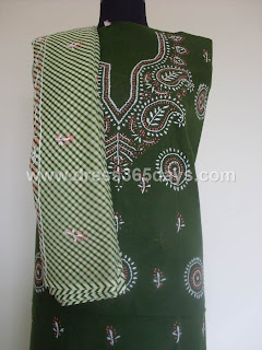 Dark Green Chikankari Dress Material